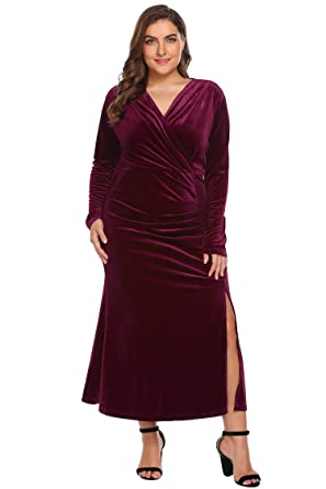 Women\'s Plus Size Retro 1950s V-Neck Wrap Velvet Split Hem Elegant ...