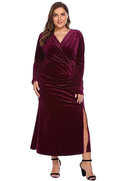 Women\'s Plus Size Retro 1950s V-Neck Wrap Velvet Split Hem Elegant Party  Evening Maxi Dress