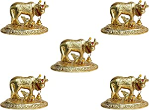 GoldGiftIdeas Oxidized Gold Plated Cow and Calf Idol for Gift (9 x 5 cm), Kamdhenu Cow and Calf Statue for Home Decor, Return Gift for Baby Shower (Pack of 5