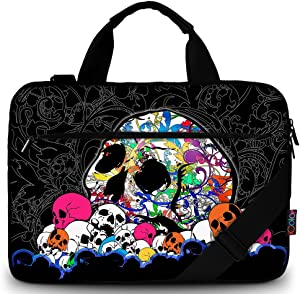 "iColor 11.6-12 13 13.3-inch Laptop Shoulder-Bag - Canvas Computer Tablet Carrying Case 13-13.3 inch Notebook Briefcase (12"" ~13.3"", Black w/Skull)"