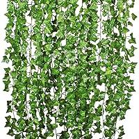 12 Strands Artificial Ivy Leaf Plants Vine Hanging Garland Fake Foliage Flowers Home Kitchen Garden Office Wedding Wall…