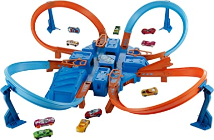 Hot Wheels- Criss Cross Crash Scontri Esplosivi, Quatro Piste per