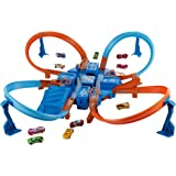 Hot Wheels Criss Cross Crash Motorized Track Set, 4 High Speed Crash Zones, 4-Way Booster, 4 Loops, Includes 1 DieCast…