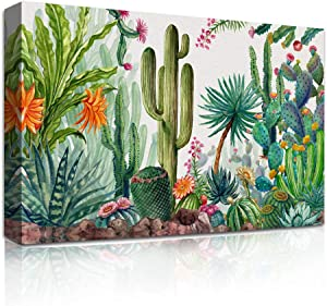 Canvas Wall Art for living room bathroom cactus potted Wall Decor for bedroom kitchen artwork Canvas Prints green plant flowers painting