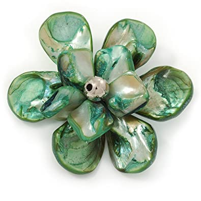 Avalaya Green Shell Flower Brooch - 70mm Diameter sgIGKa