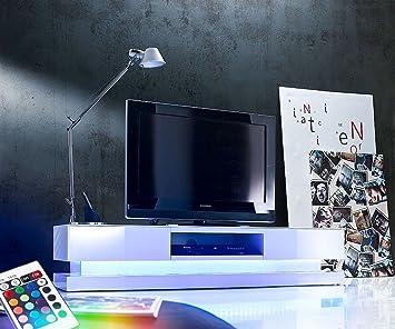 Lowboard led  Fernsehtisch Kendrick Weiss Hochglanz 180x40 Lowboard LED ...