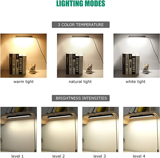 Semlos Strip Reading Light 40 LEDs Eye Protection USB Magnet Wardrobe Lamp with 3 Colors 4 Brightness for Dormitory Closet Cabinet Bedside Craft