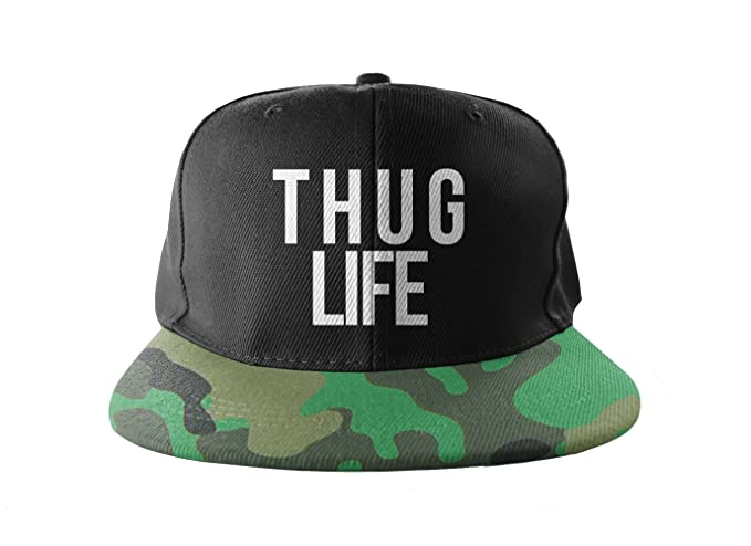 a4b1630b69d Image Unavailable. Image not available for. Color  Thug Life Camouflage  Cool Swag Hip Hop Print Snapback Hat Cap Camo