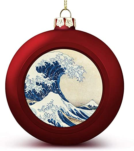 Cheyan Museum Collection Hokusai The Wave Christmas Balls Ornaments Hanging Ball Decorative For Xmas Trees Holiday Party Home Kitchen