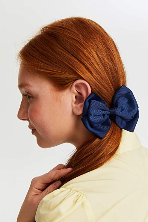 Girl Children Back to School Navy Blue Ribbon bow Hair Head Clip On accessory