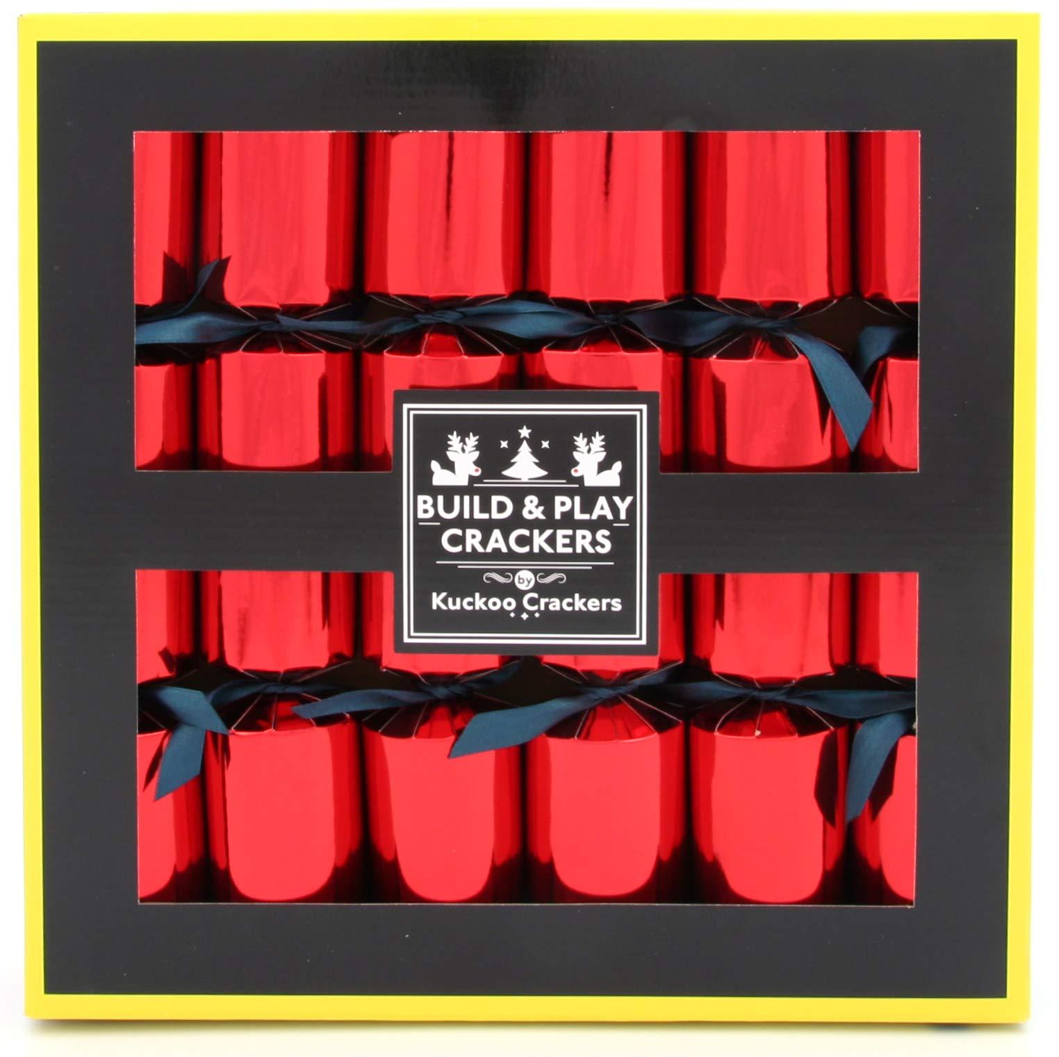 Kuckoo Crackers - 6 x 12-inch Build & Play Animal Building Block Christmas Crackers