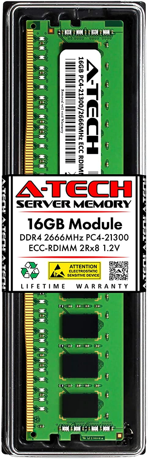 A-Tech 16GB Memory RAM for Dell PowerEdge T440 - DDR4 2666MHz PC4-21300 ECC Registered RDIMM 2Rx8 1.2V - Single Server Upgrade Module (Replacement for AA940922)