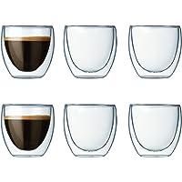 Bodum Pavina - Set de 6 vasos térmicos, cristal borosilicato