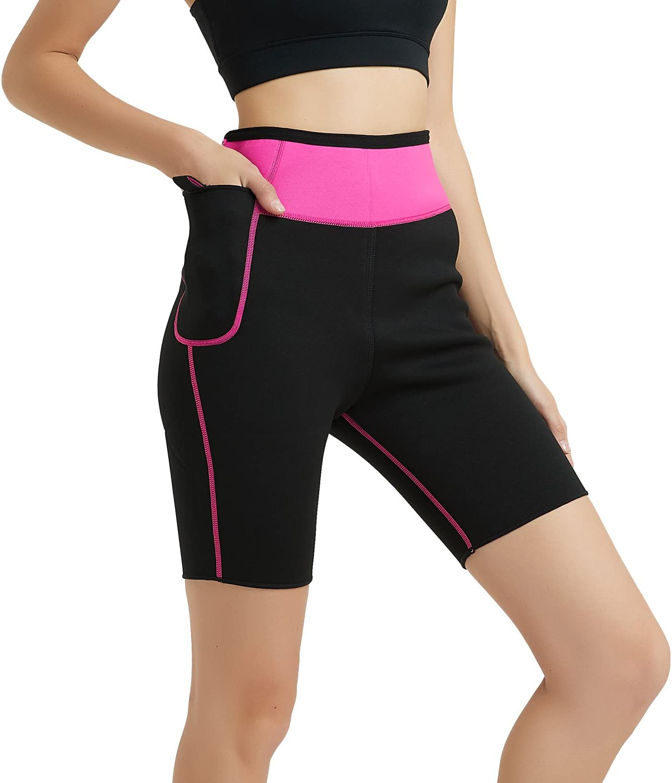 NOVECASA Pantalones Cortos de Sudoraci/ón con Bolsillo para Tel/éfono M/óvil Mujer Neopreno Sauna Fitness Yoga Pantalones Adelgazante Medias Slimming Quema Grasa