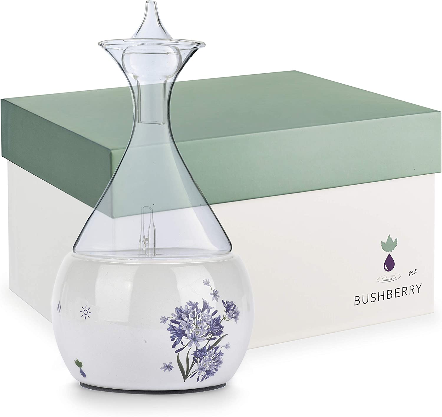 Waterless Nebulizing Essential Oil Diffuser from Ceramic & Glass, Non-Toxic Pure Scents Nebulizer, Stylish Aromatherapy Atomizer and Vaporizer for Home or Office. USB Powered. by Bushberry Mist