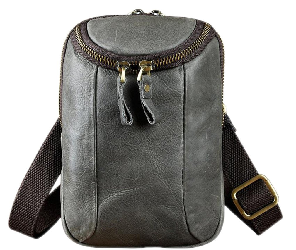 KUAISUF Mens Leather Multifunction Messenger Designer Cigarette Case Travel Pouch Hook Belt Waist Bag Pack grey 2