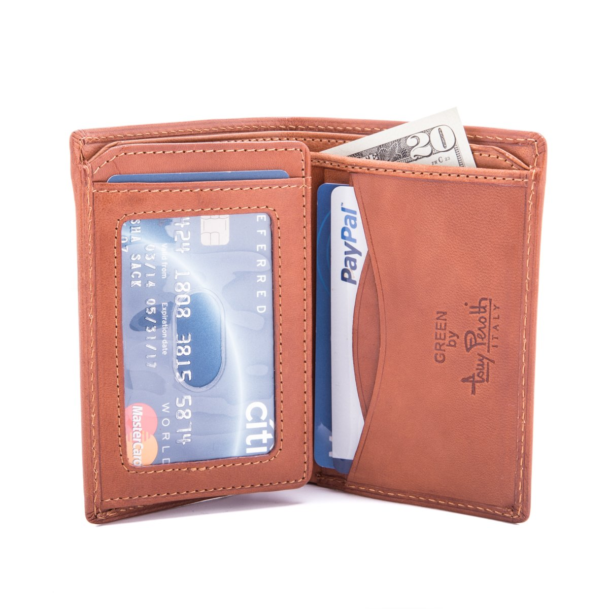 Italian Cow Leather Front Pocket Vertical Bifold Wallet with ID Window Flap