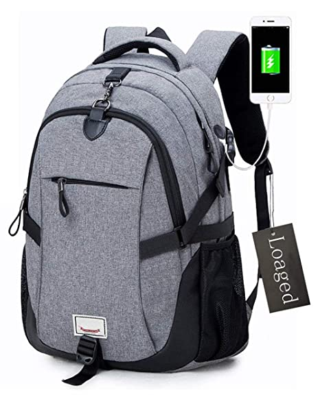 Anti-theft Laptop Backpack, Loaged Business Bags with USB Charging Port Water Resistant School Bookbag for College Travel Backpack for 15.6-Inch ...