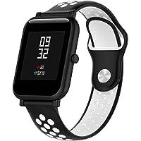 Pinhen Correa para Amazfit Bip - 20mm Silicona Correa de Repuesto para Galaxy Watch 42mm, Gear S2 Classic, Huawei Watch 2, Vivoactive 3, Ticwatch E, Ticwatch 2nd (Black White)