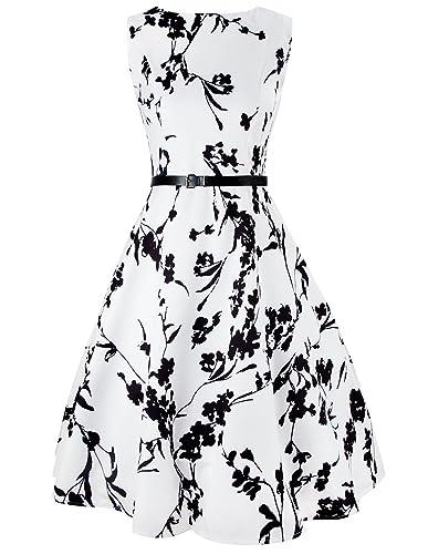 iPretty Women's Vintage Dress 1950's Hepburn Retro Rockabilly Floral Party Skater Dresses Swing Party Dress