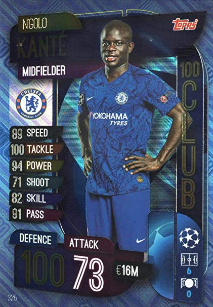 CHELSEA MATCH ATTAX 19//20 NGOLO KANTE 100 CLUB TRADING CARD