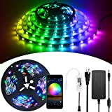 ALITOVE WiFi Smart RGB LED Strip Lights with App, Compatible with Alexa Google Home, 16.4ft 150 LEDs Addressable Dream…