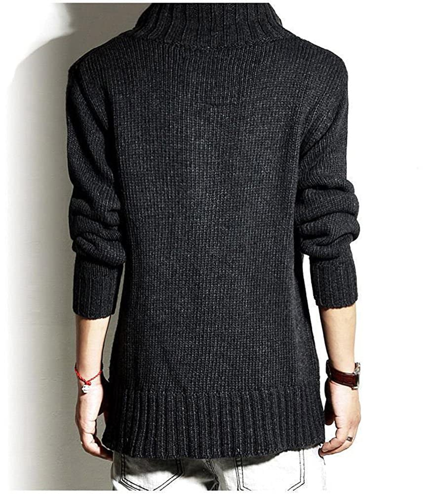 Mens Jumpers Chunky Cable Knit Cardigan Winter Knitted Shawl Collar With Buttons Pockets