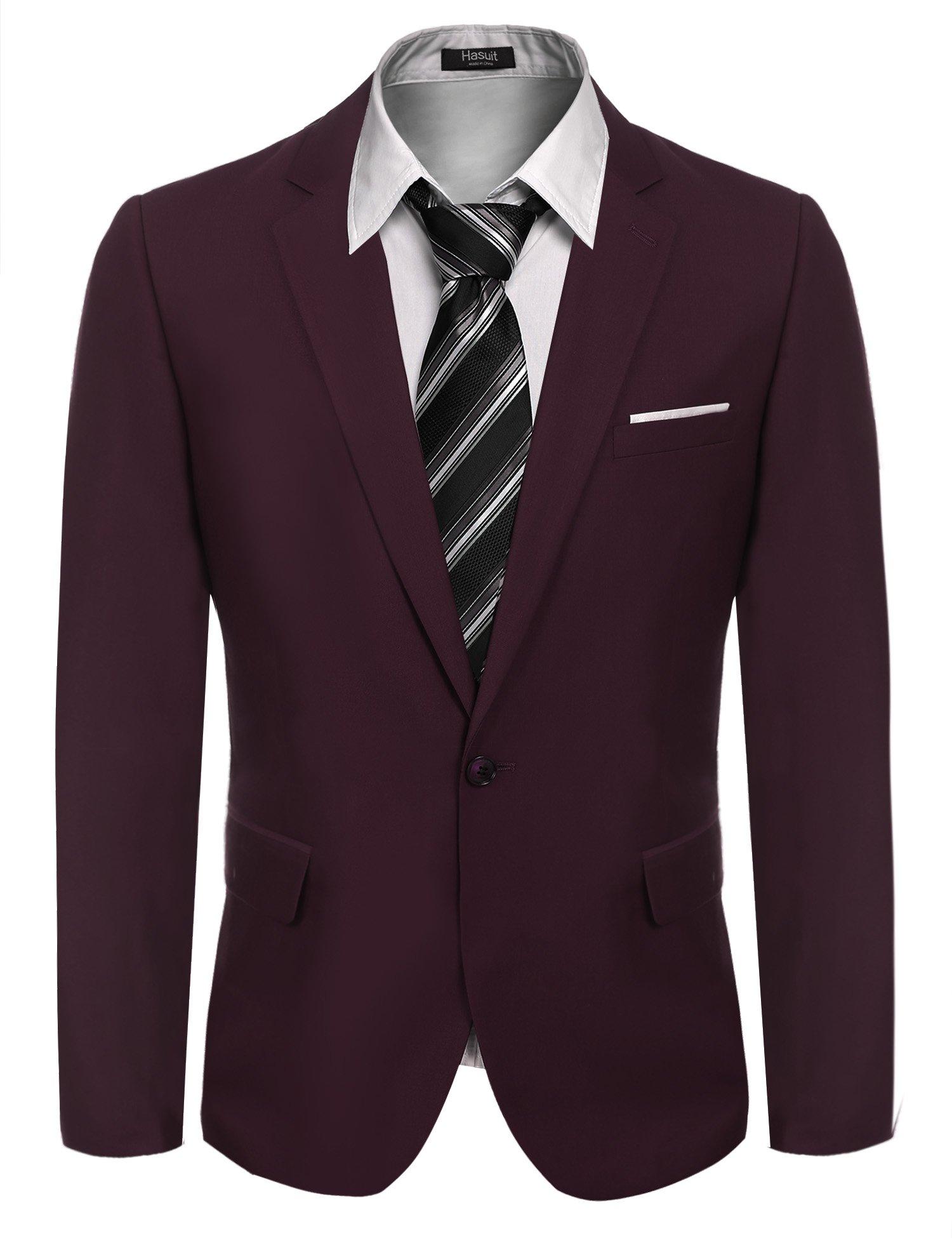 Hasuit Men's Casual One Button Slim Fit Stylish Blazer Coats Jackets Dress Suit