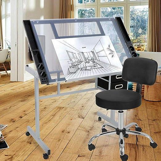 9TRADING - Taburete de salón hidráulico Ajustable + Mesa de Dibujo ...