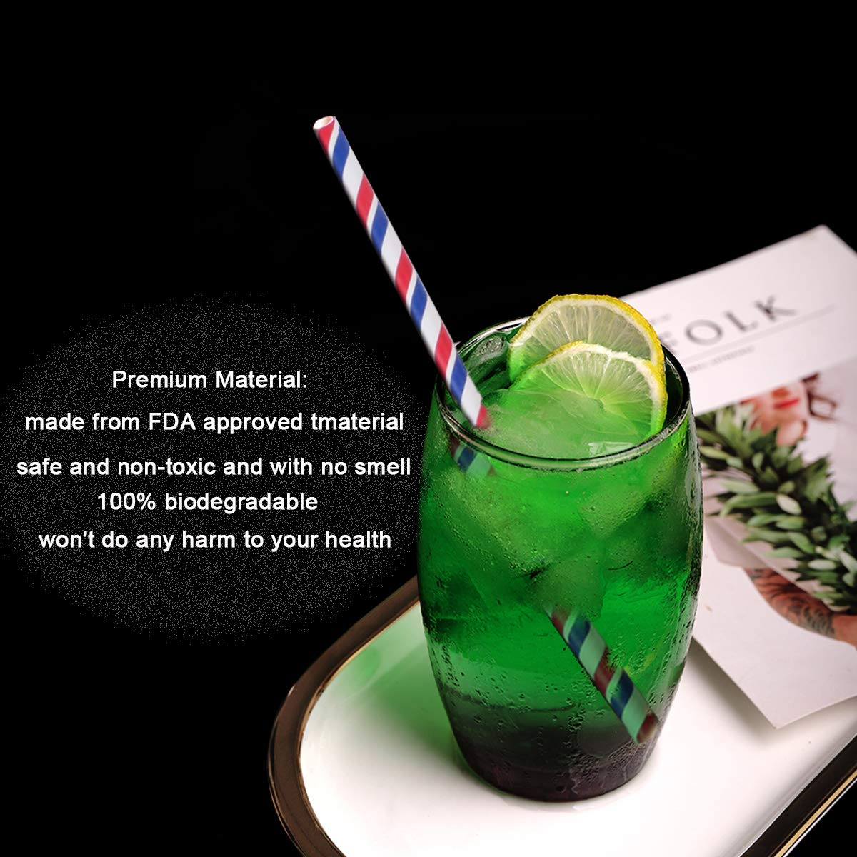 Triple Layer Technology Disposables Drinking Straws for Kids Parties and Daily Environmentally Friendly 300pcs Tricolour Striped Paper Straw Natural Tasteless PASEP Paper Straws Biodegradable