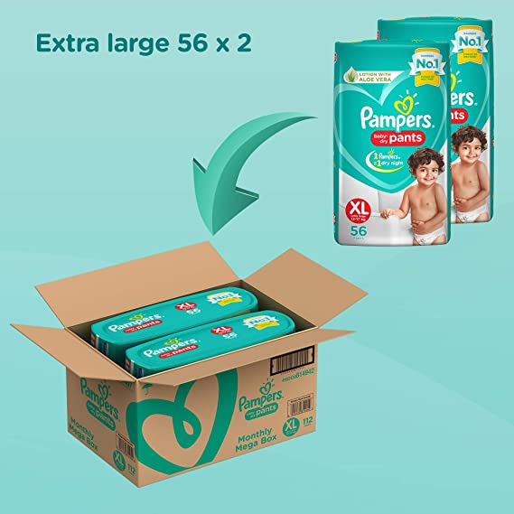 Pampers New Diapers Pants Monthly Box Packs, X-Large (112 Count)