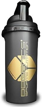 La proteína agitador / proteína con tapón de rosca y el colador. 700 ml, Oro-Negro, VASO MEZCLADOR, BBGenics