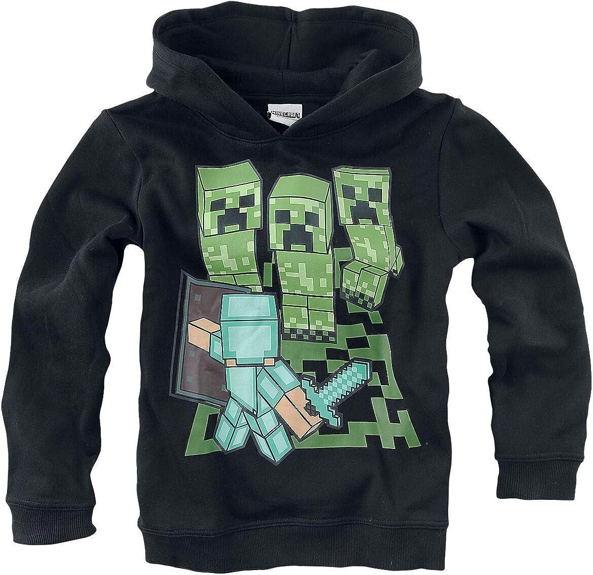 Minecraft Sweat /à capuche noir pour gar/çons et filles Mining 116 128 140 152 cm
