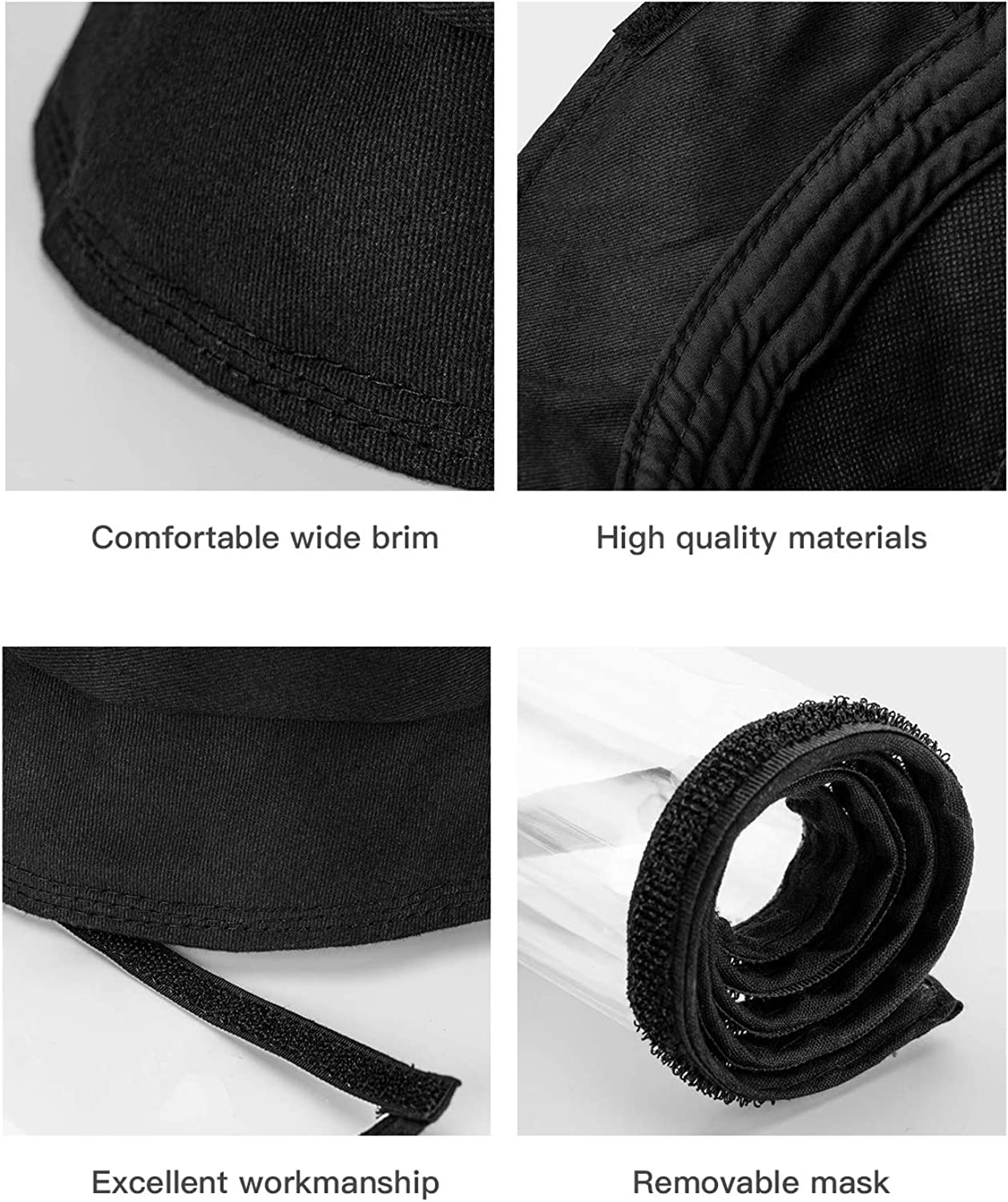 Fulin Protective Face Shield Cover Hat Anti Spitting and Anti Saliva Fog Dust UV Sun Full Protective Hat Cover Outdoor Fisherman Hat for Women and Men Black