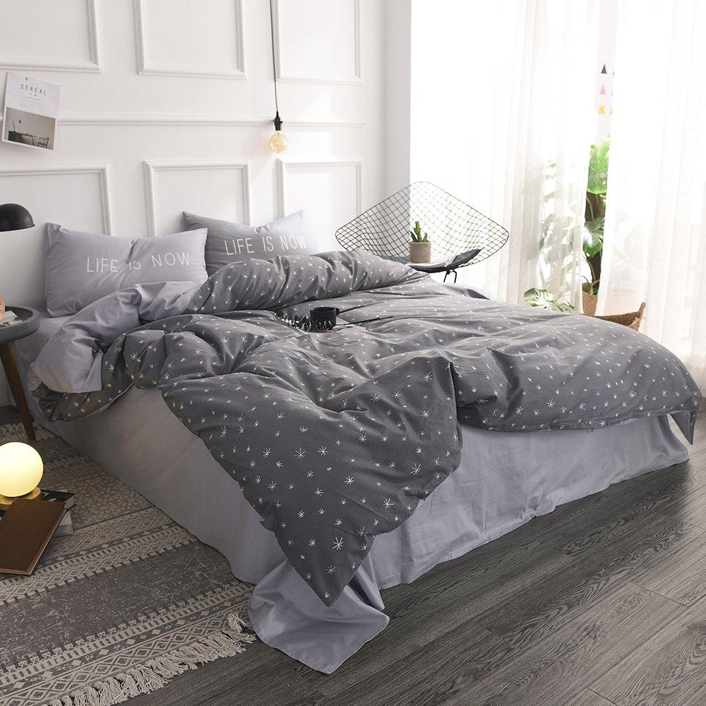 FenDie Stars Printed Duvet Cover Set Queen Grey Teens Bedding Set for Boys