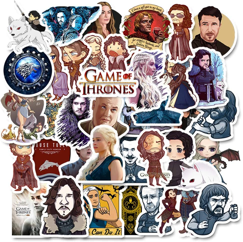 Game of Thrones Stickers Funny Pack of 50 Stickers,Laptop Stickers for Water Bottles.Waterproof Laptops Sticker Vinyl Decal Sticker for Phone,Computer,Hydro Flasks,Cars,Bicycles(Game of Thrones)