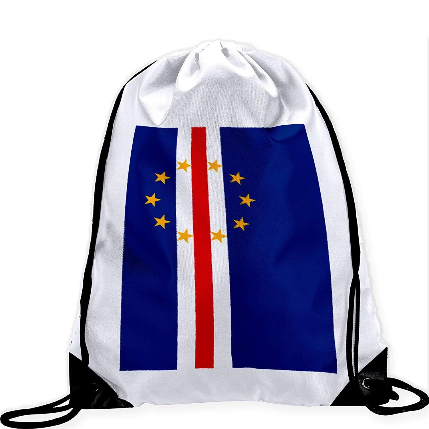 Large Drawstring Bag with Flag of Cape Verde - Many Designs - Long lasting vibrant image