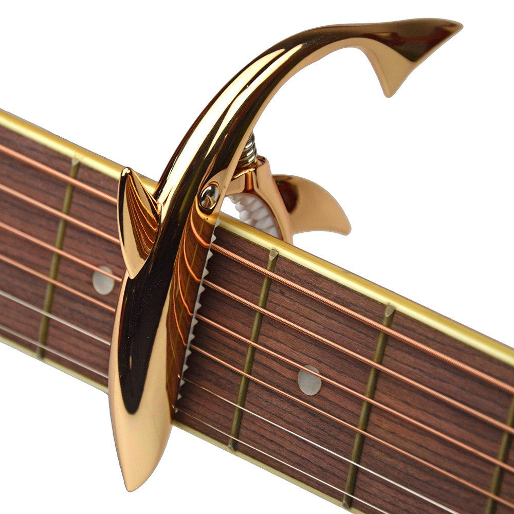 Shark Capo,Zinc Alloy Tone Clip for Acoustic,Folk,Electric Guitar and Ukulele (red gold)