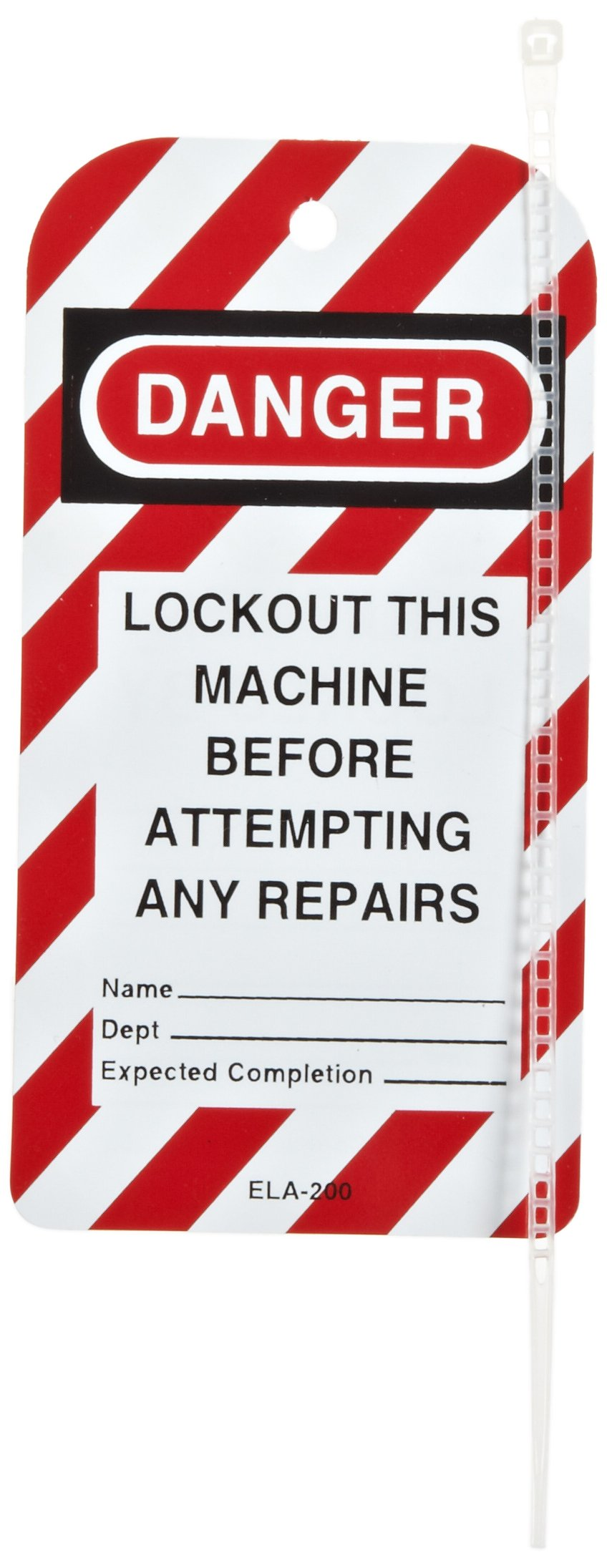 North Safety''Danger - Lockout This Machine Before Attempting Any Repairs'' Styrene Tag with Reverse Side Dismissal Warning, 5-3/4'' Length, 3'' Width