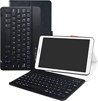 LFDZ Galaxy Tab E 9.6 Bluetooth Teclado Funda, [Detachable] Bluetooth Teclado Ultra Slim PU Cuero con Soporte Caso Case Funda para 9.6