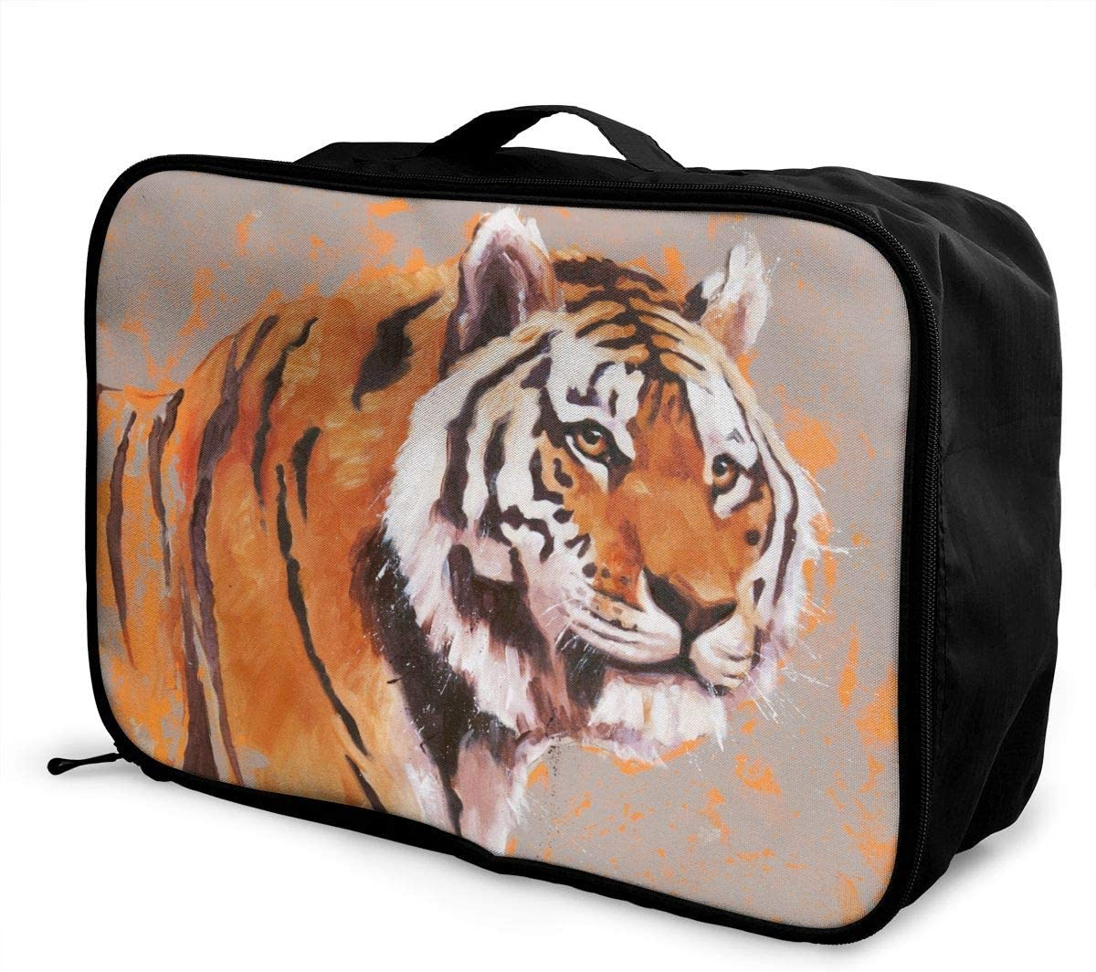 YueLJB Burning Bright Tiger Lightweight Large Capacity Portable Luggage Bag Travel Duffel Bag Storage Carry Luggage Duffle Tote Bag