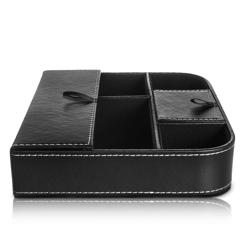 Fineway - Elegante bandeja de 6 compartimentos de piel para valet para hombre - ideal para teléfonos móviles, relojes, carteras, monedas, llaves y relojes ...