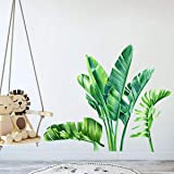 Green Banana Leaf Tropical Plants Peel and Stick Wall Decals, Removable Giant Tree Leaves Wallpaper Sticker, DIY Wall…