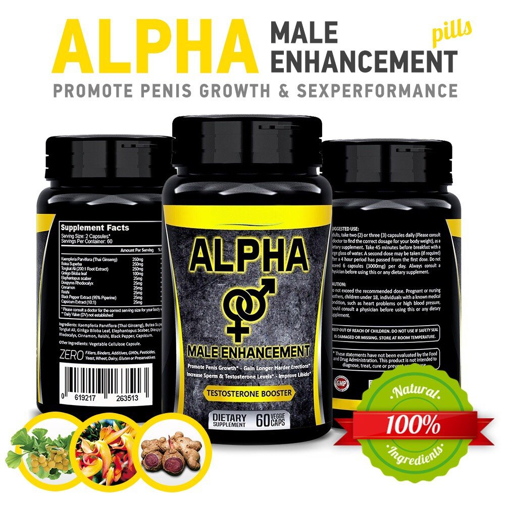 Natural Alpha Male Enhancement Pills - Penis Enlargement & Sex Performance Vegetable Cellulose Capsule - Testosterone Booster Big Dick in Less Than 1 Month - by Herbal Fantasy