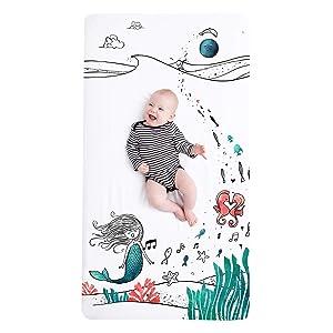 JumpOff Jo Cotton Crib Sheet, Moonlight Mermaid
