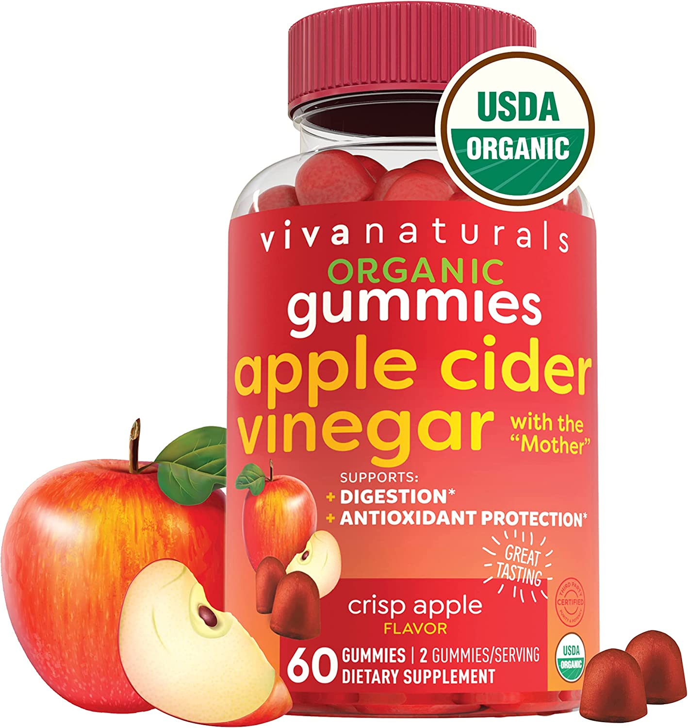 Organic Apple Cider Vinegar Gummies | 60 ACV Gummies with The Mother | Supports Healthy Digestion + Provides Antioxidant Support