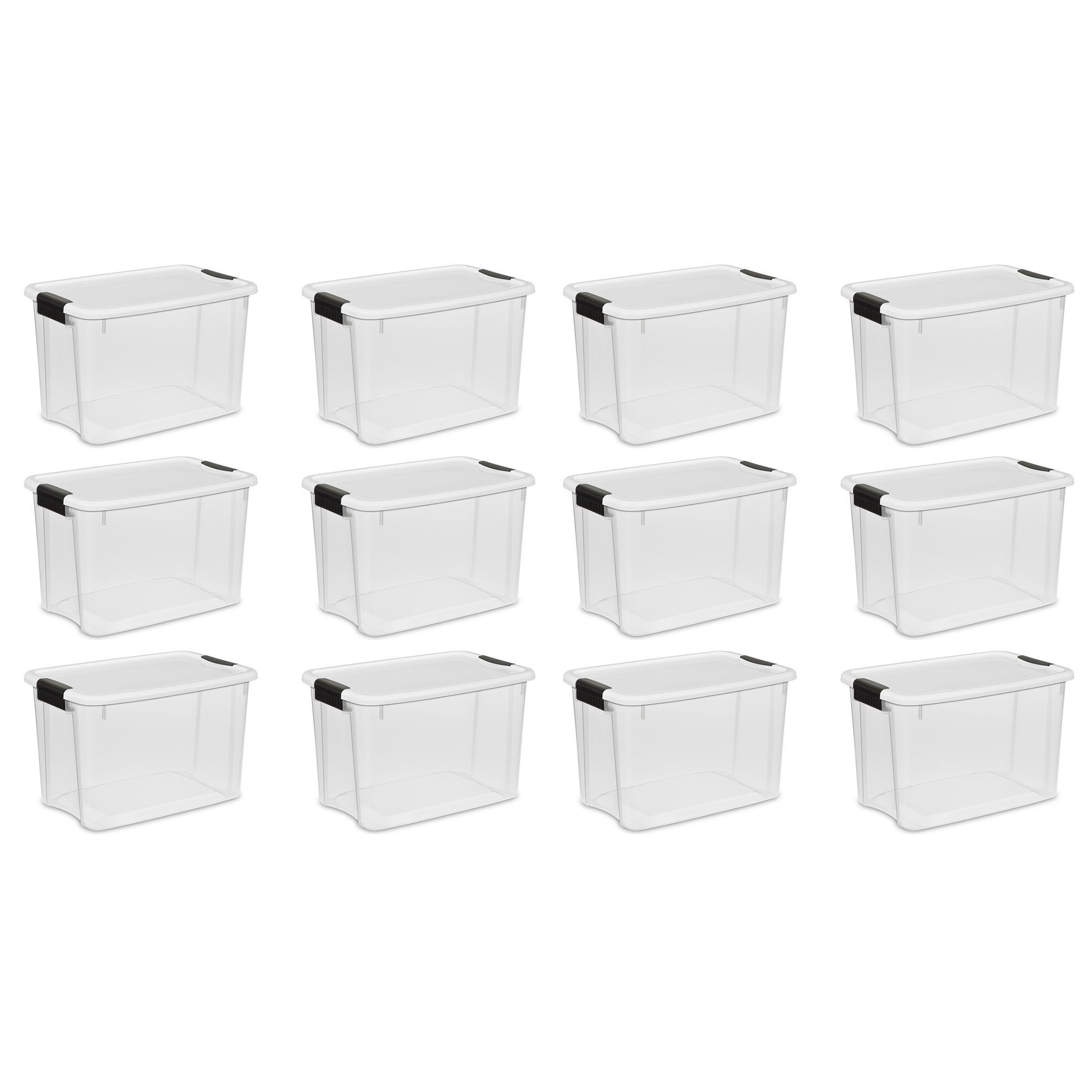 STERILITE Ultra Latch Storage Box (12 Count, Clear,30 Quart) by STERILITE