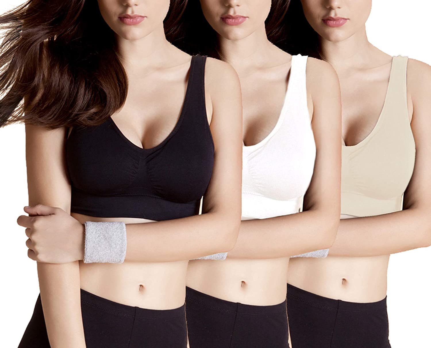 TALLA XL (38-40). SODACODA ® 3-Pack - Padded Comfort Seamless Top Sport Bra Yoga with removable soft pads (S-XXXL)