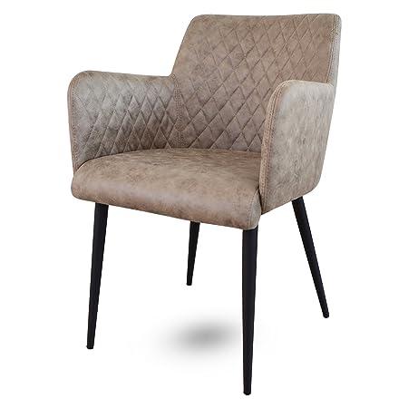 Damiware Rose Stuhl | Design Wohnzimmerstuhl Esszimmerstuhle Bürostuhl mit Stoffbezug | (Dessert)