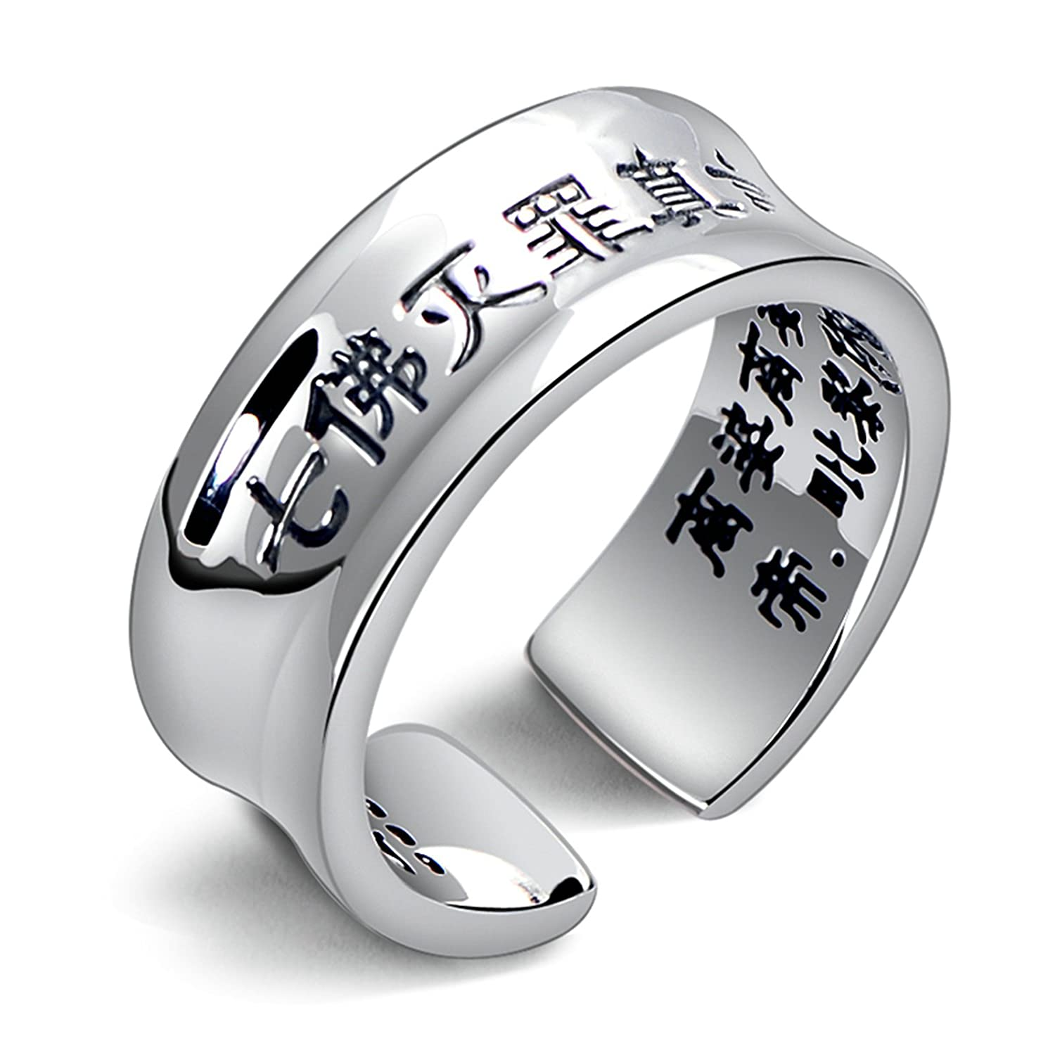 Amdxd Jewelry Sterling Silver Wedding Rings For Women Chinese Buddhist Mantra Band Size 5 To 75amazon: Chinese Man Wedding Band At Websimilar.org